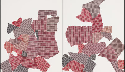"""Rubble-Work by Suzie Smith. Series of unique screenprints, each 26"""" x 20"""", 2020. Documentation by Leif Norman."""