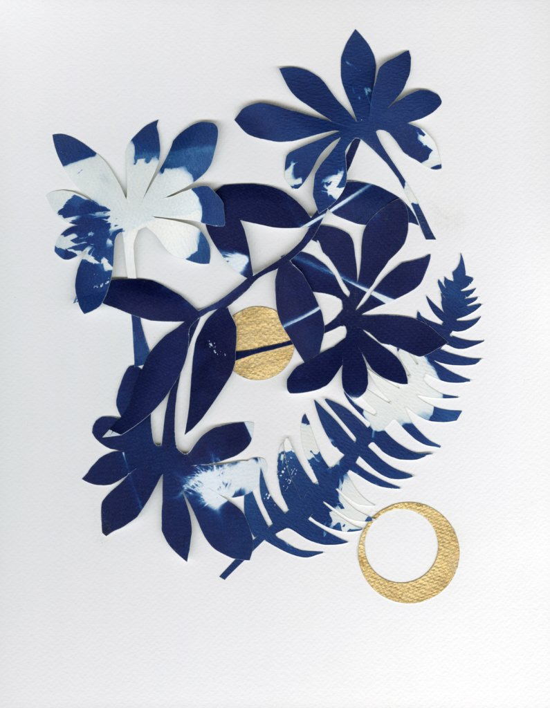 "untitled (Unique Cyanotype) by Brenda Stuart. Cyanotype on Fabriano with gold pen, 14 x 11"", 2020."