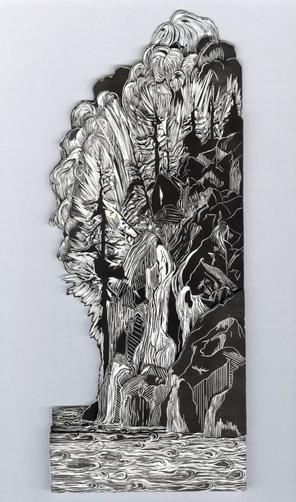 "Seascape by Ray Kehler. Linocut construction (layered composite image mounted on cardboard), A/P, 16 x 6.5"", 2020."