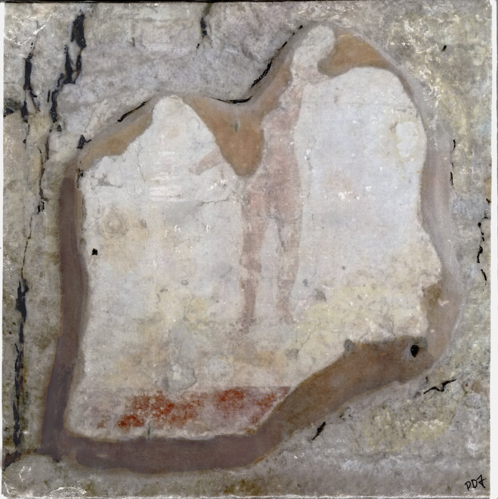 "Wall Mural/Fragment, Ostia Antica by Pamela Desmet Franklin. Image transfer and mixed media, 12 x 12"", 2020."