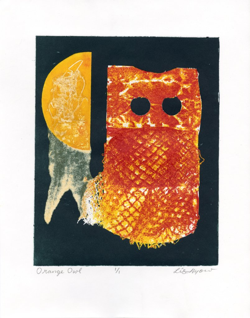 "Orange Owl by Lisa Ayow. Monoprint, 15 x 11"", 2019."
