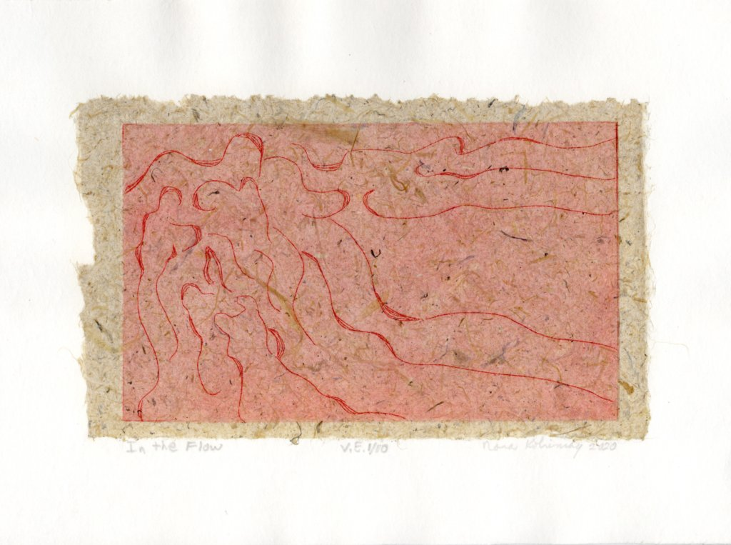 In the Flow by Nora Kobrinsky. Etching with chine collé, varied edition 1/10, 6.5 x 8.625, 2020.