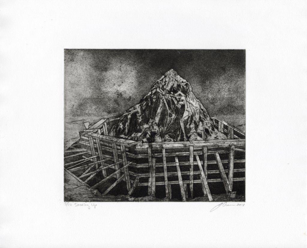 "Shoring Up by Jonathan S. Green. Intaglio, edition 3/10, 14 x 15"", 2018."
