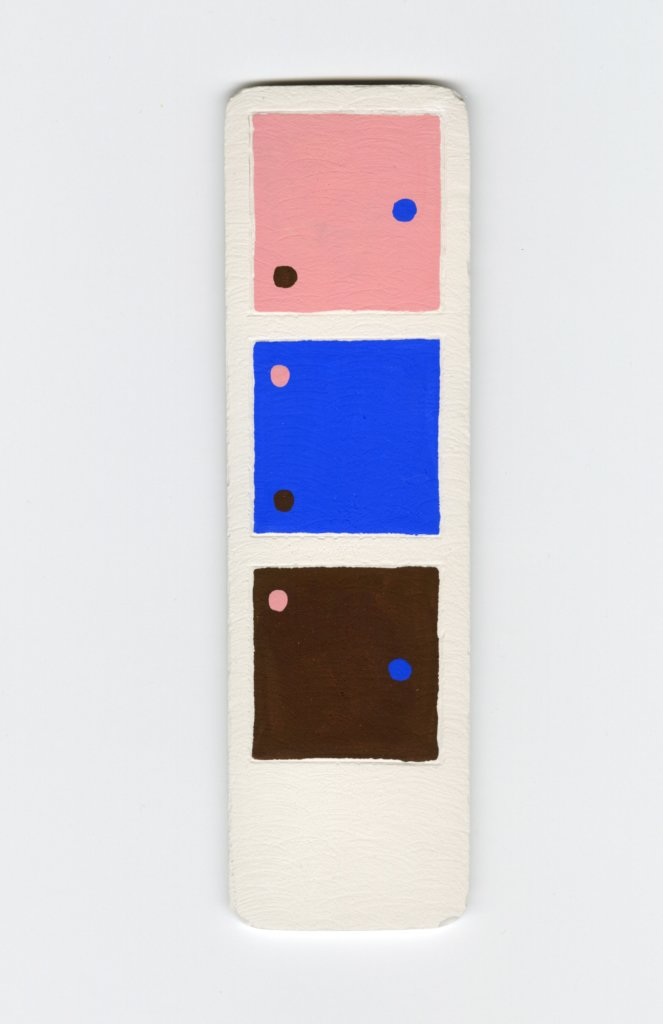 "Colour Swatch (pink, blue and brown) by Bram Keast. Cast plaster and gouache, 6.5 x 2"", 2020."