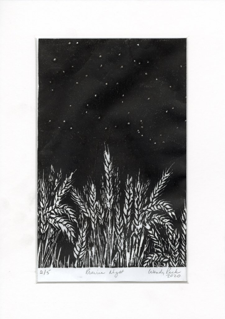 "Prairie Night by Wendy Peck. Linocut, Akua inks, rice paper, edition 2/5, 9 x 6"", 2020."