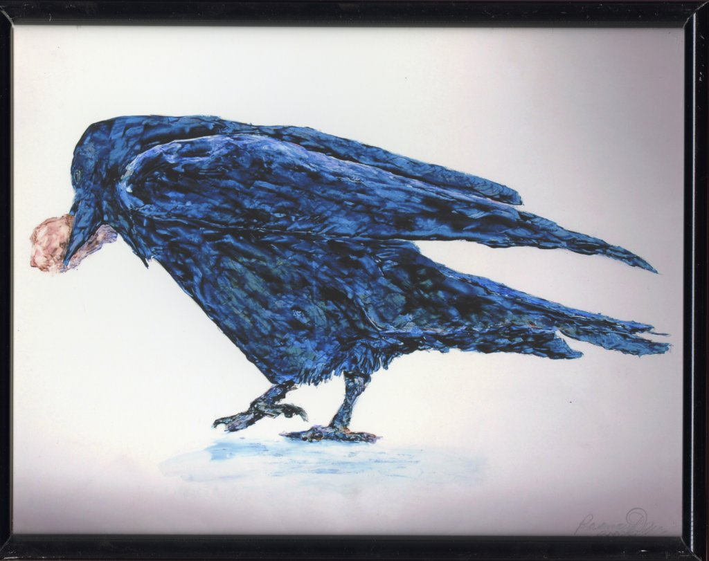 "Turning Raven by Rosemary Dzus. Framed archival inkjet print, 11 x 14"", 2019."