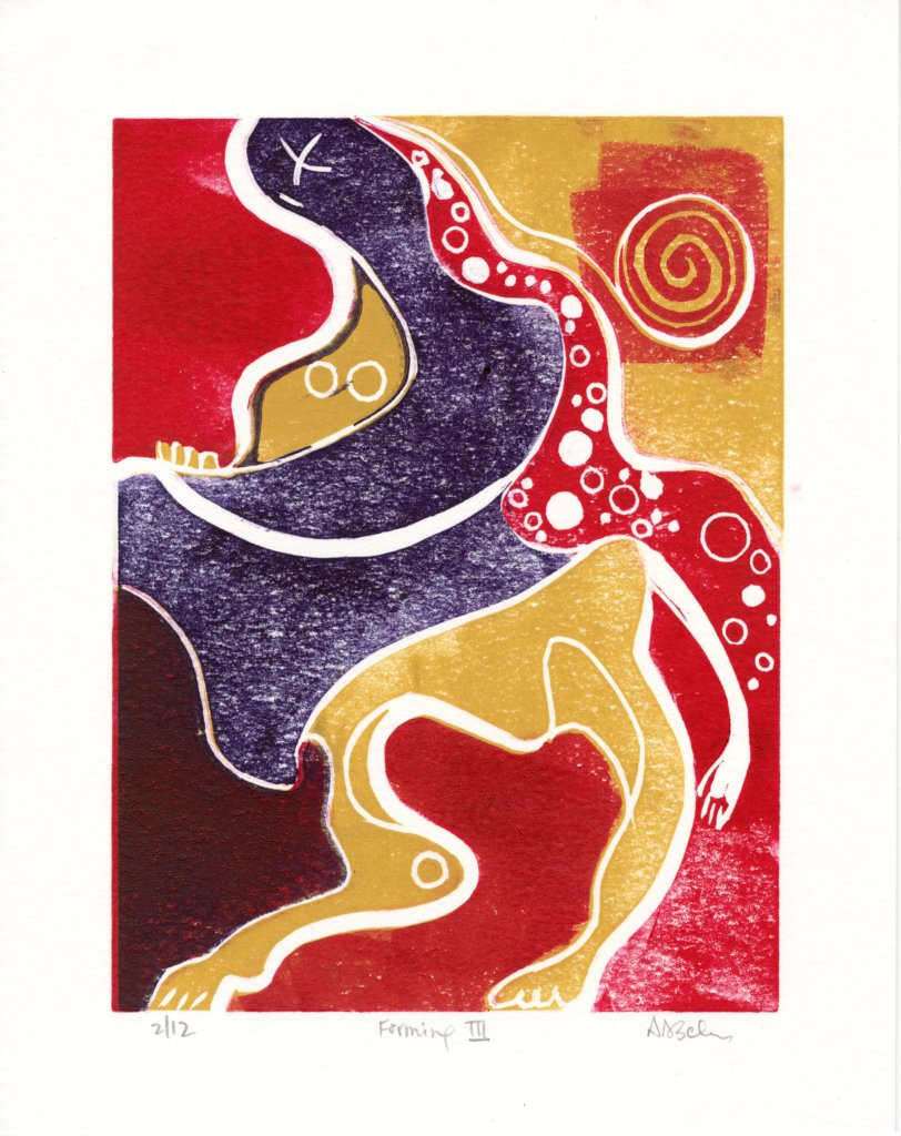 Forming III, Avery Ascher, lino relief print