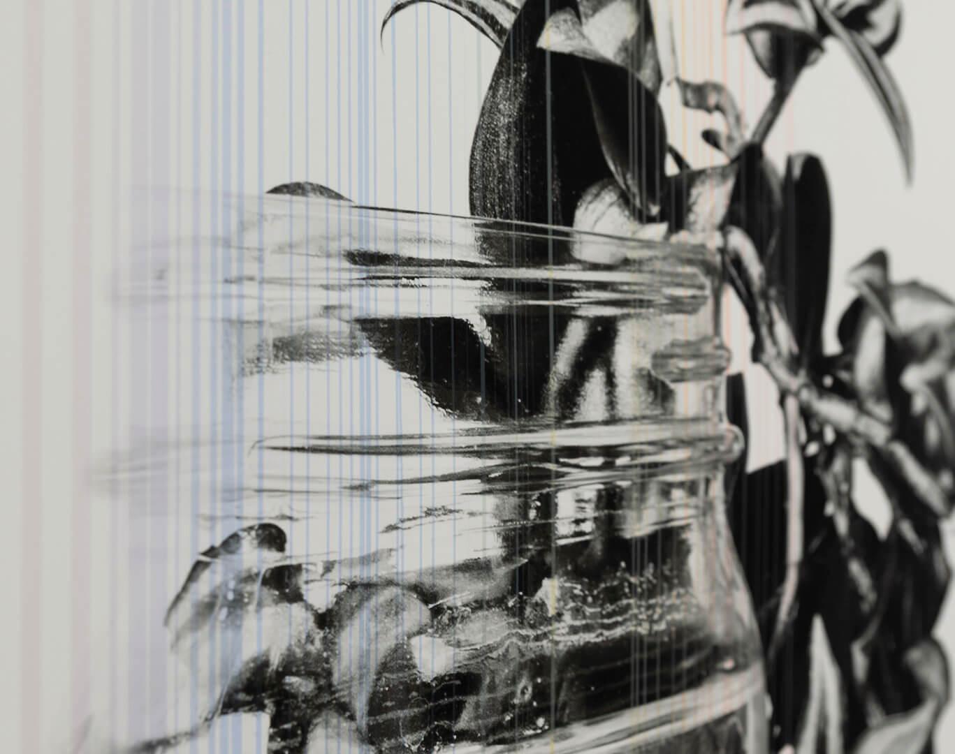 "Detail of Futures Barren Film Stills: I by April Dean. Inkjet and screen print. 36 x 24"". 2019. Image credit: Sarah Fuller."