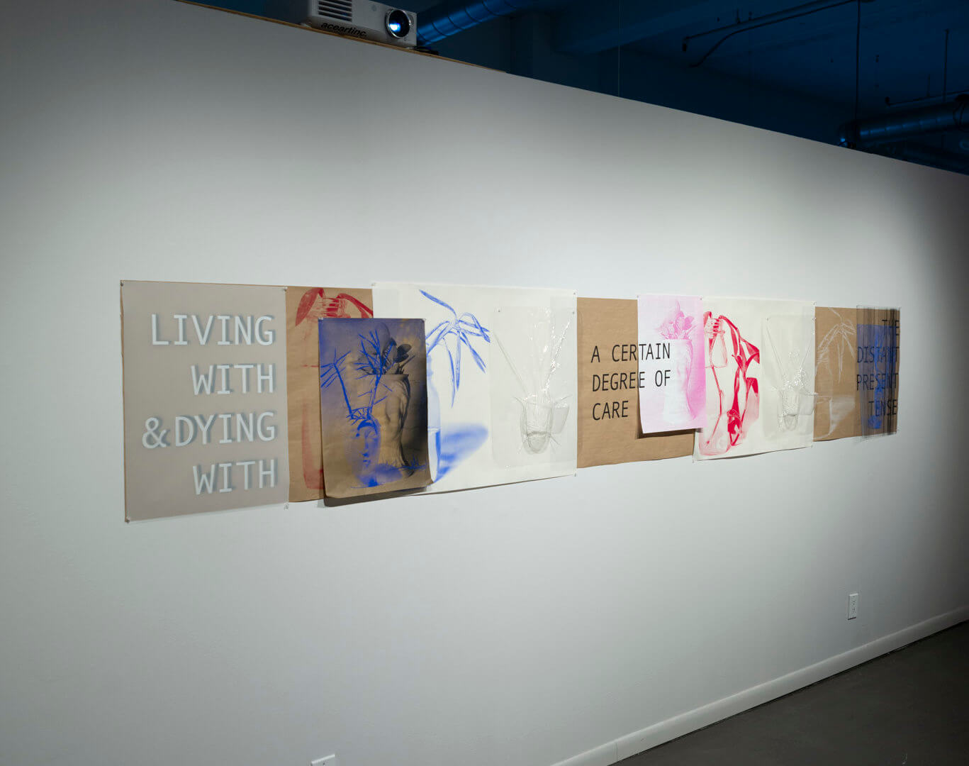 Living With by April Dean. Screen prints and plastic vacuum forms. Approx. 24 x 13'. 2021. Image credit: Sarah Fuller.