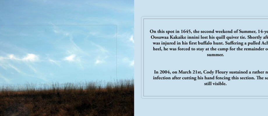 "This is a narrow, landscape orientation image. On the left half is a photograph of a grassy field, and a light blue sky with some wispy clouds. The sky takes up most of the image. A rectangle is embroidered in the centre. On the right half is black text over a light blue background. The text reads: ""On this spot in 1645, the second week of Summer, 14-year old Oosawa Kakaike innini lost his quill quiver tie. Shortly after, he was injured in his first buffalo hunt. Suffering a pulled Achilles heel, he was forces to stay at the camp for the remainder of the summer. In 2004, on March 21st, Cody Fleury sustained a rather nasty infection after cutting his hand fencing this section. The scar is still visible."""