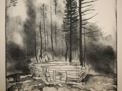 A fire stronger than God, 2021, lithograph by  Jonathan S. Green