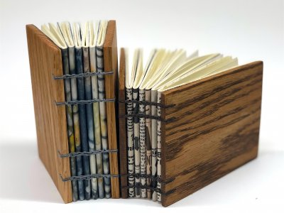 Coptic Binding with wooden covers by Debra Frances Plett